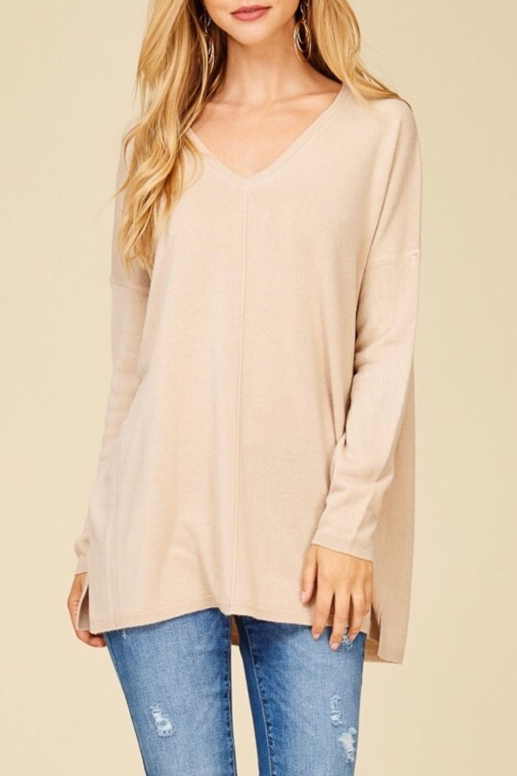 Staccato Taupe V-Neck Sweater - Main Image