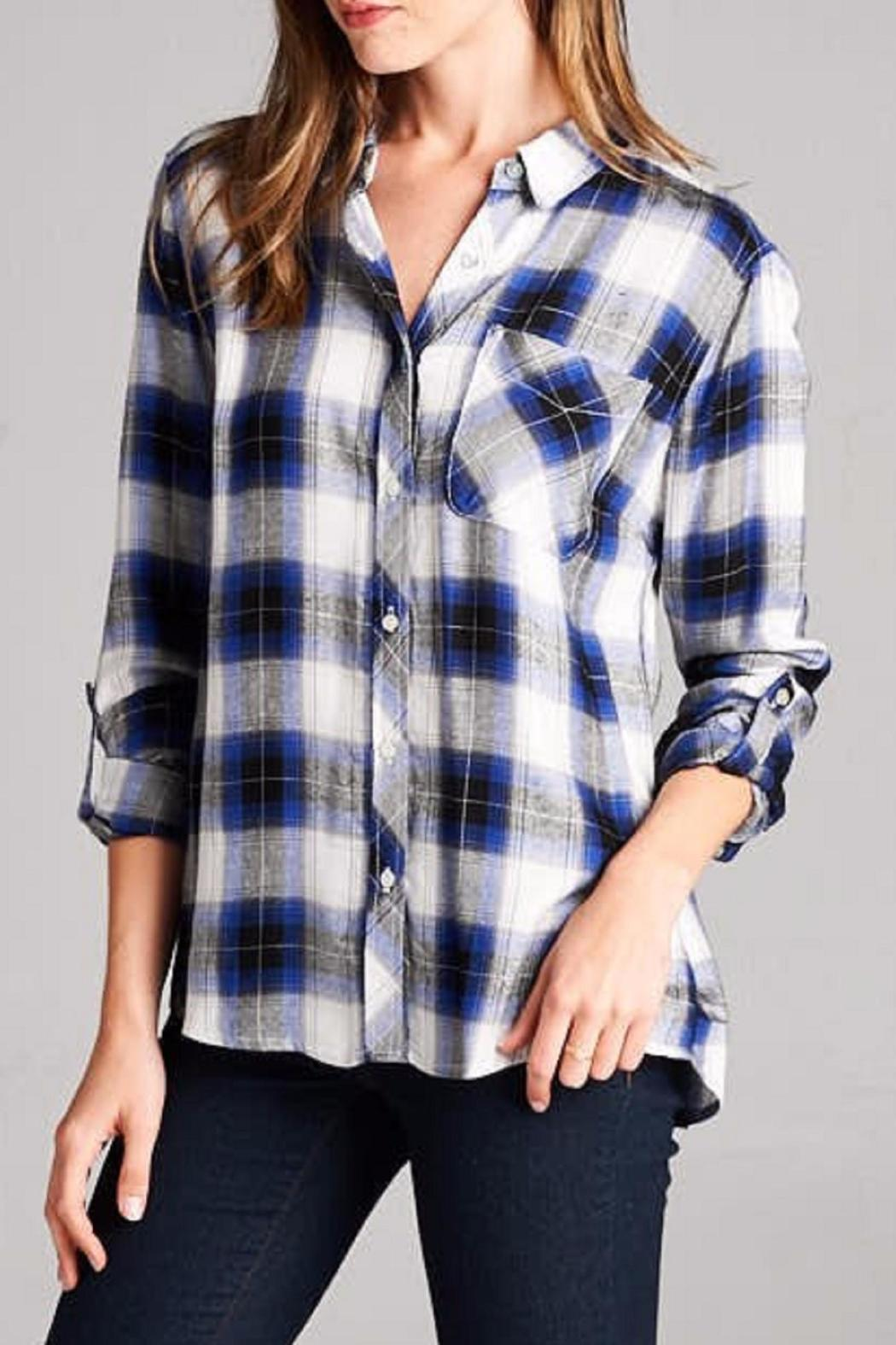 Staccato The Zoey Plaid Top - Front Full Image