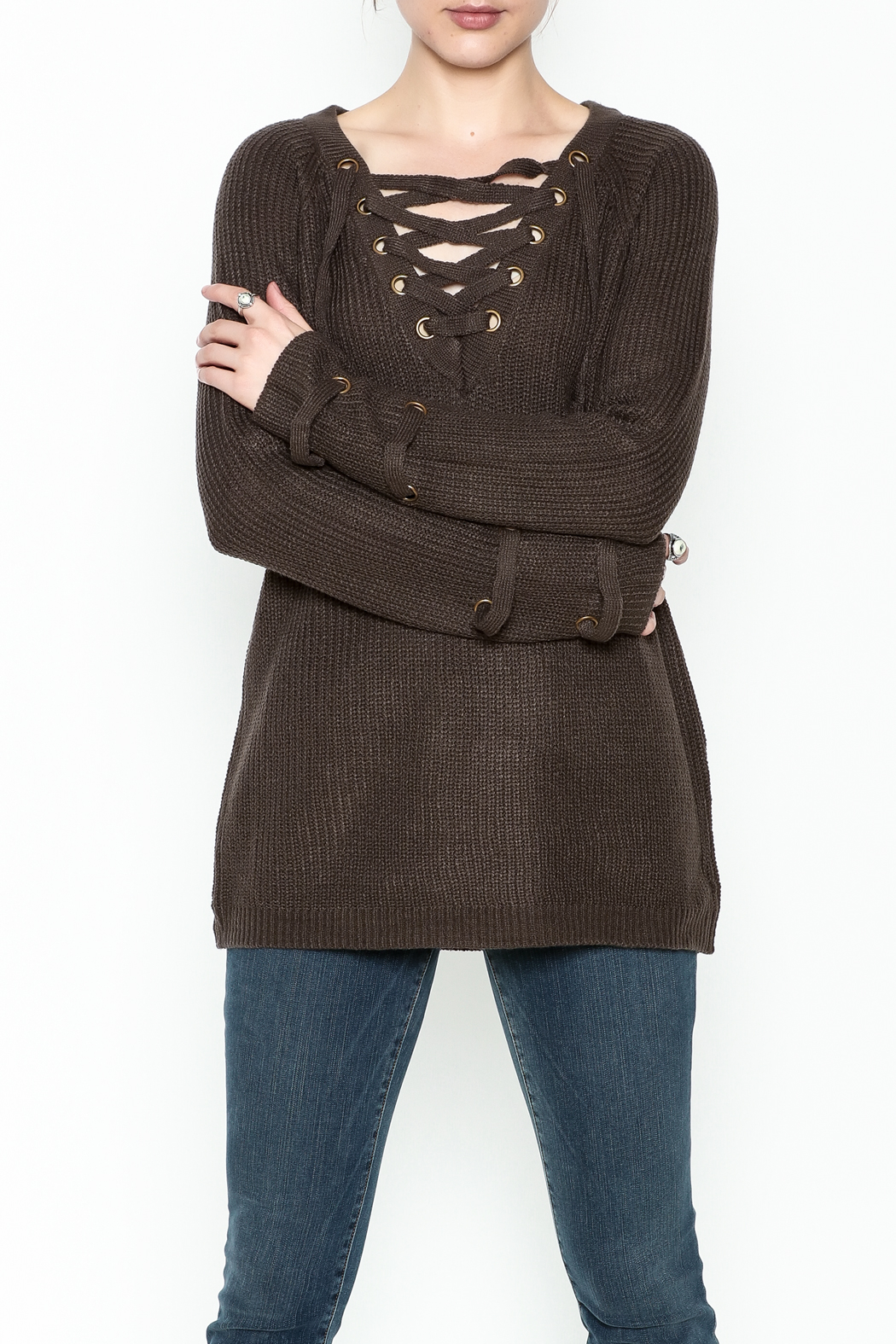 Staccato V Neck Lace Sweater - Main Image