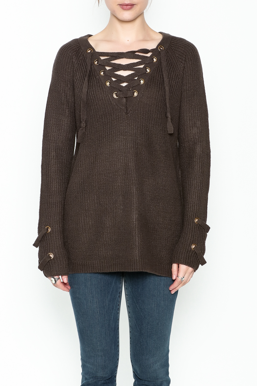Staccato V Neck Lace Sweater - Front Full Image