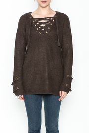 Staccato V Neck Lace Sweater - Front full body