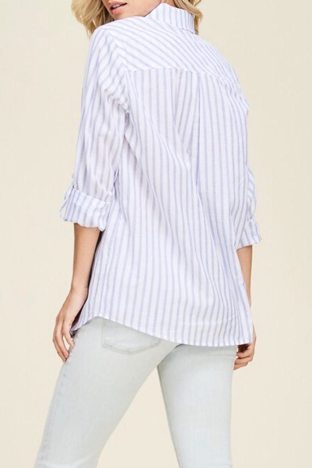 Staccato Vertical Striped Shirt - Side Cropped Image