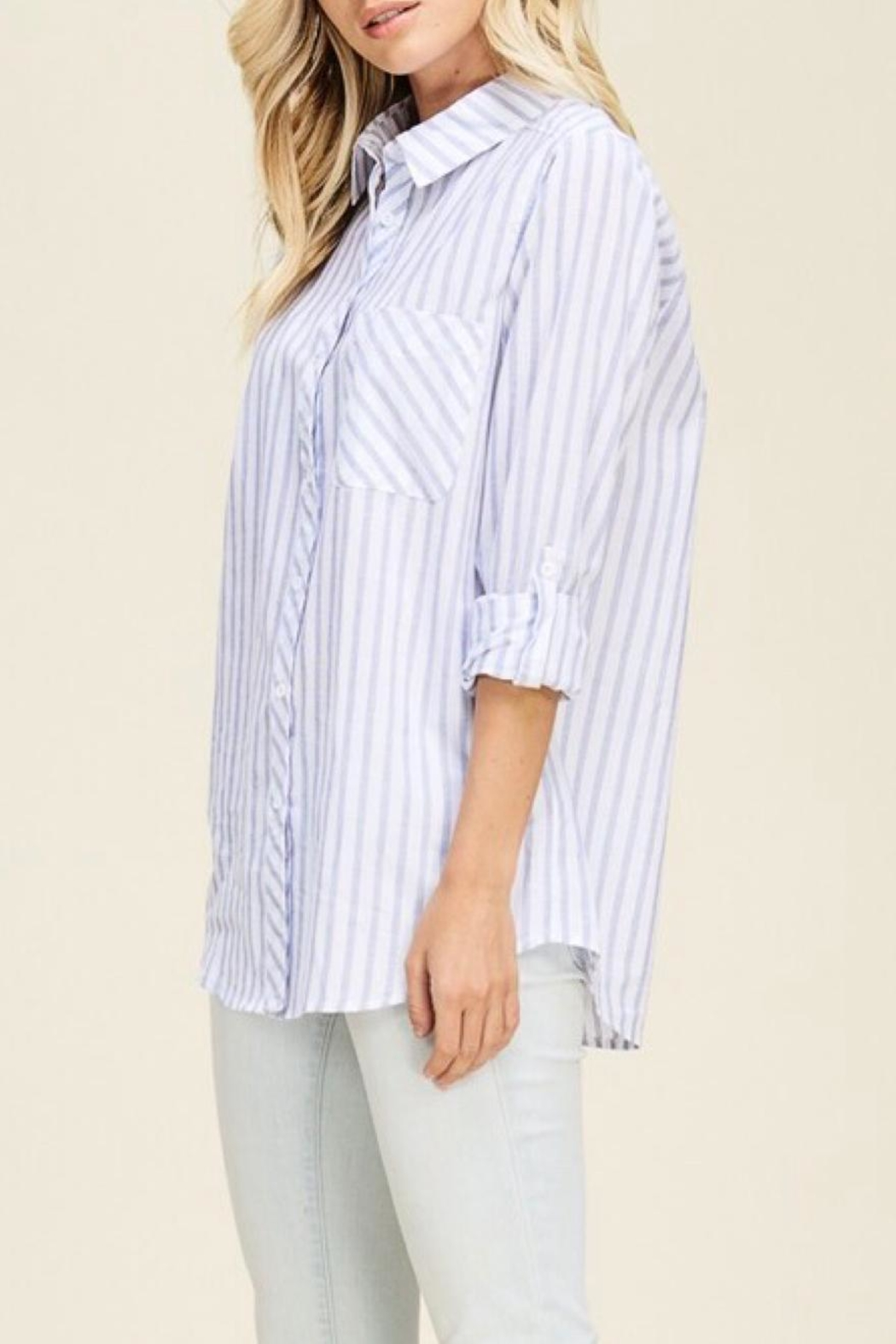 Staccato Vertical Striped Shirt - Back Cropped Image