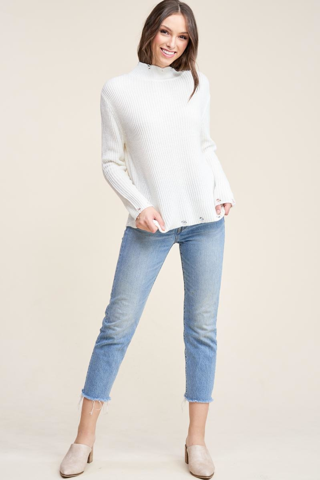 Staccato Winter White Sweater - Front Cropped Image