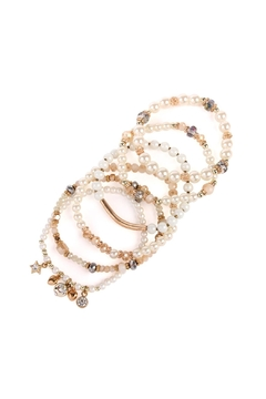 Riah Fashion Stackable-Pearl Charm Bracelet - Alternate List Image