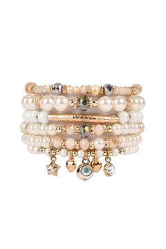 Riah Fashion Stackable-Pearl Charm Bracelet - Product List Image