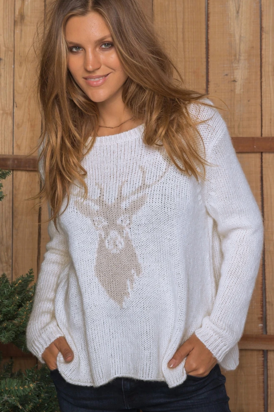 Wooden Ships Stag Crewneck Sweater - Main Image