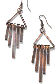 Anju Handcrafted Artisan Jewelry Staggered Fringe Triangle Earring - Product Mini Image
