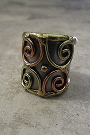 Anju Handcrafted Artisan Jewelry STAINLESS STEEL CUFF RING -11 - Product Mini Image