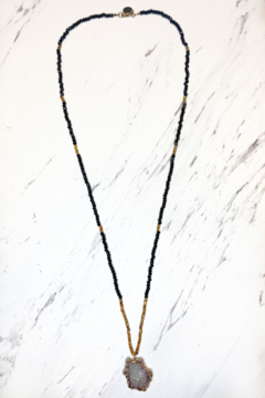 Elizabaeth Stone stalactite beaded black and gold necklace - Product List Image