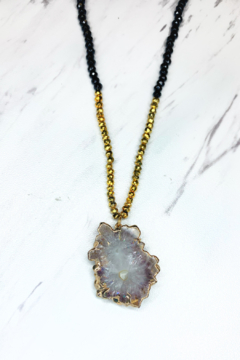 Elizabaeth Stone stalactite beaded black and gold necklace - Alternate List Image