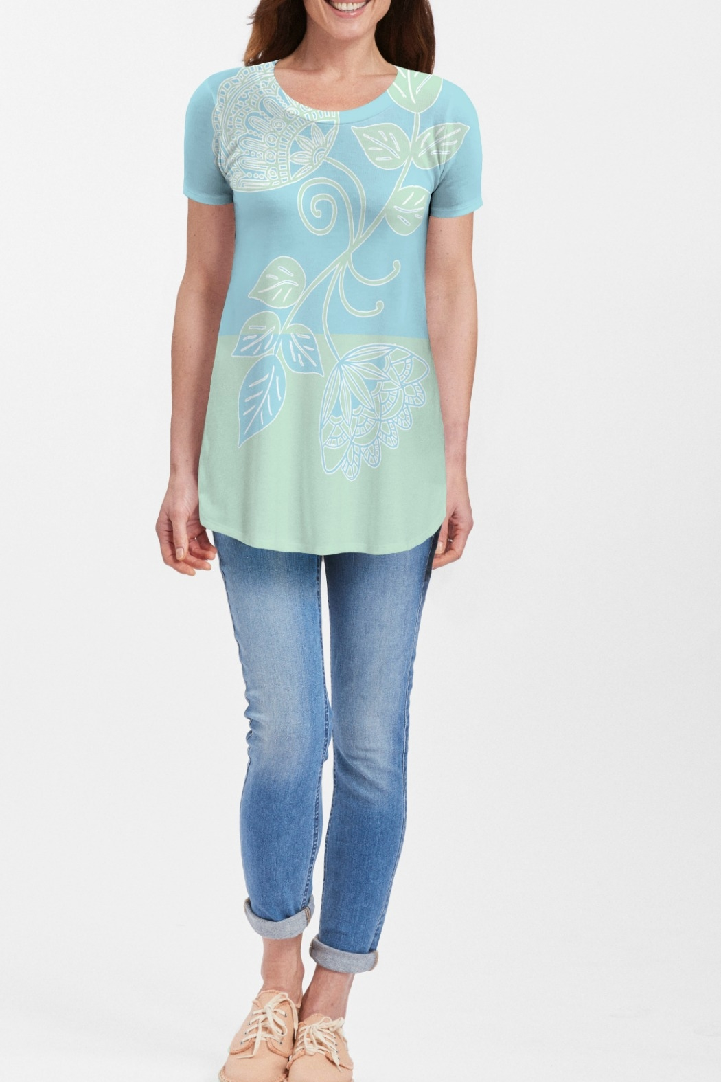 Whimsy Rose Stamped Floral Aqua S/S Butterknit Tunic - Main Image