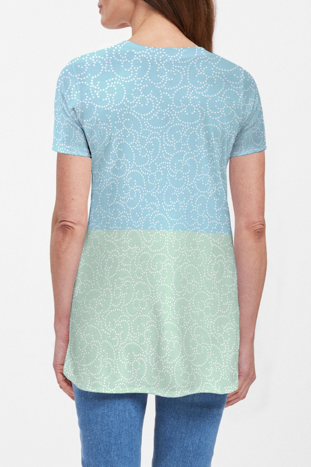 Whimsy Rose Stamped Floral Aqua S/S Butterknit Tunic - Front Full Image
