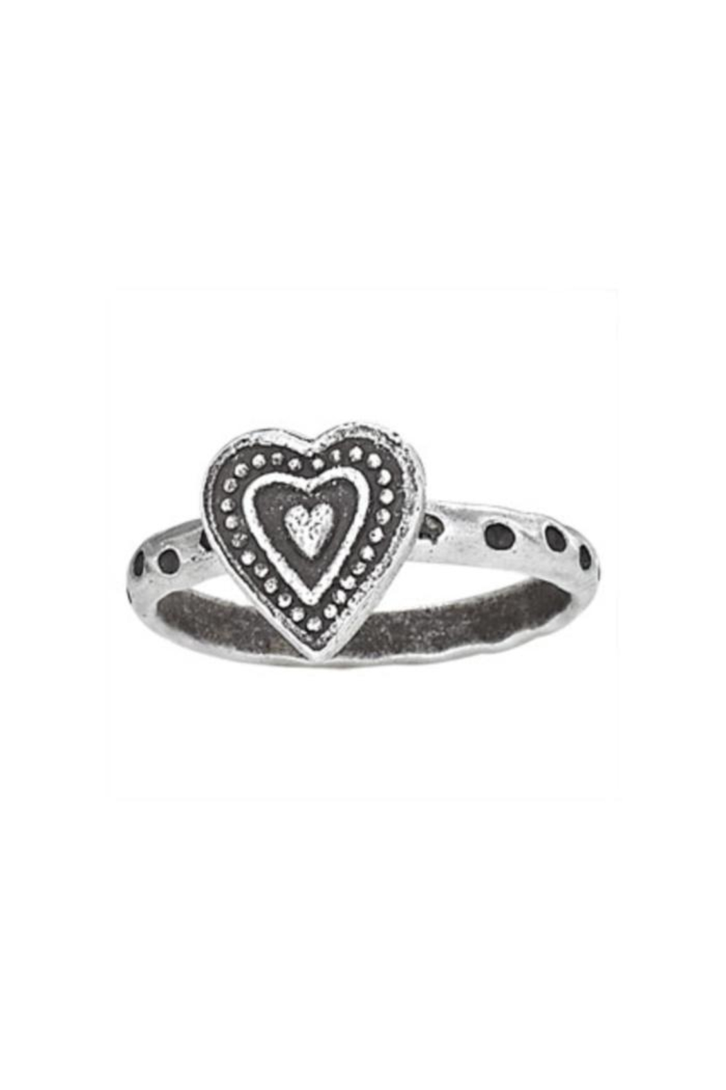 Tiger Mountain Stamped Heart Ring - Main Image