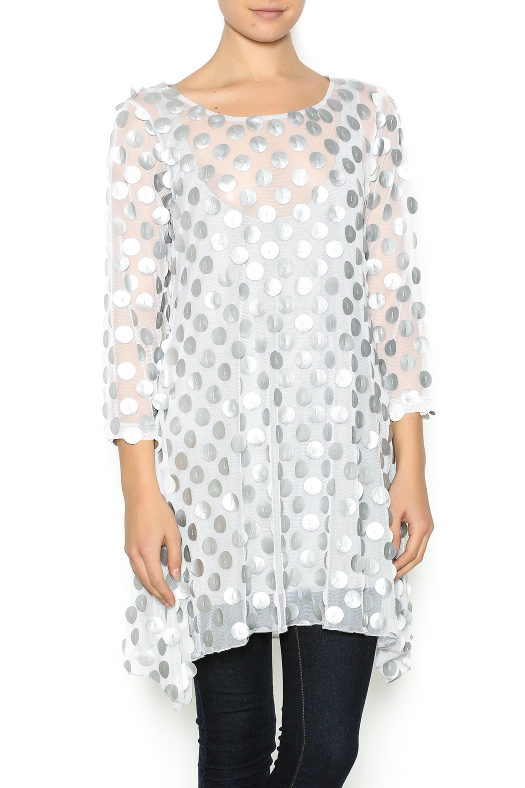 Staples Silver and White Mod Tunic - Main Image