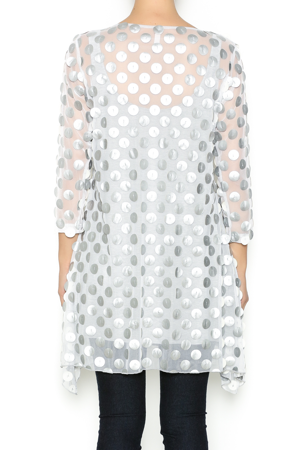 Staples Silver and White Mod Tunic - Back Cropped Image