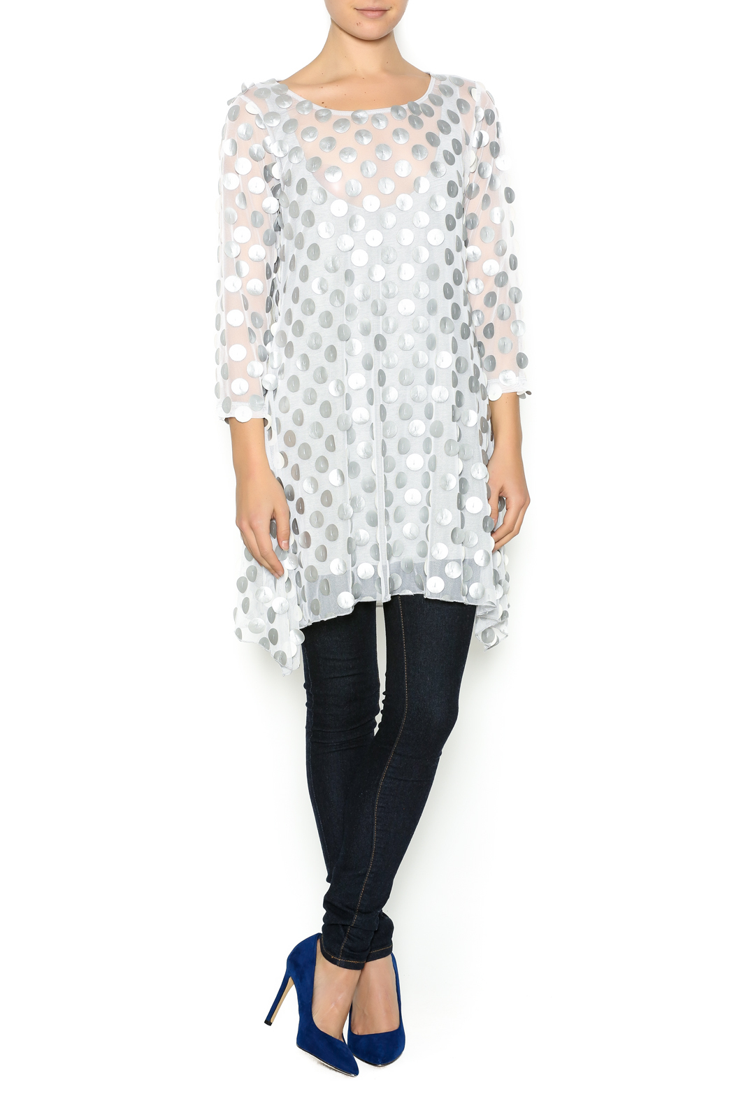 Staples Silver and White Mod Tunic - Front Full Image