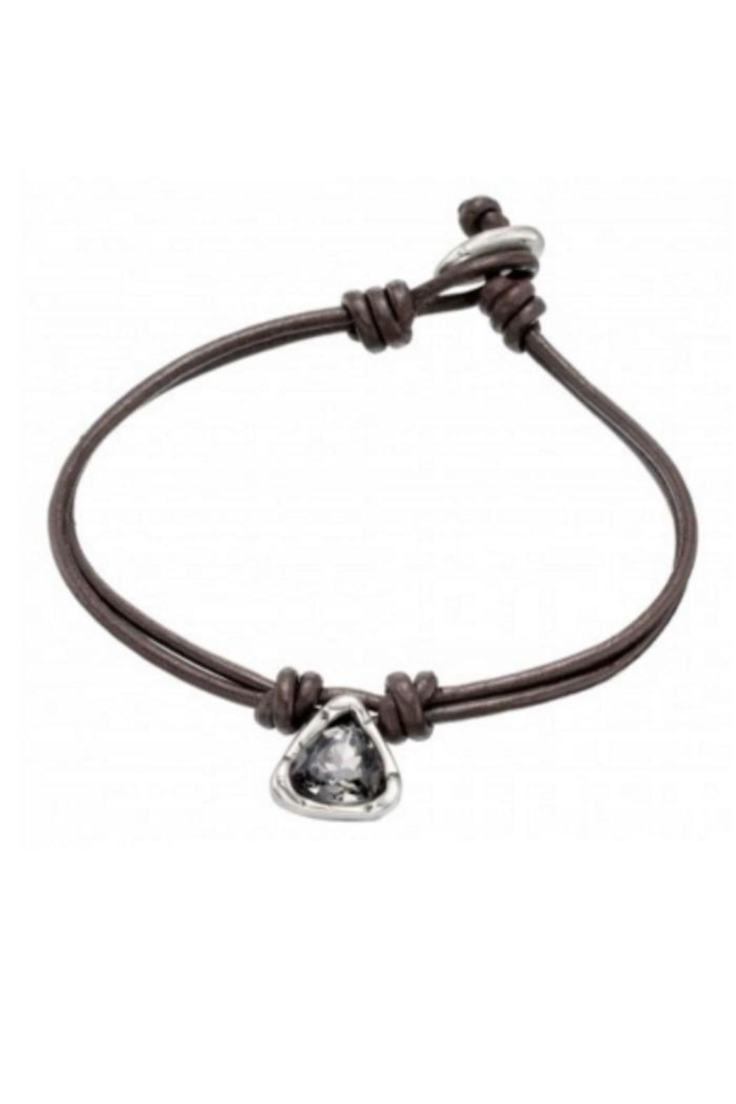 Uno de 50 Star Alone Leather Bracelet w Gray Crystal - Main Image