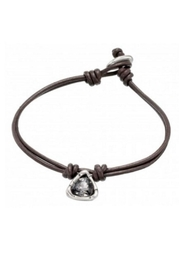 Uno de 50 Star Alone Leather Bracelet w Gray Crystal - Front cropped