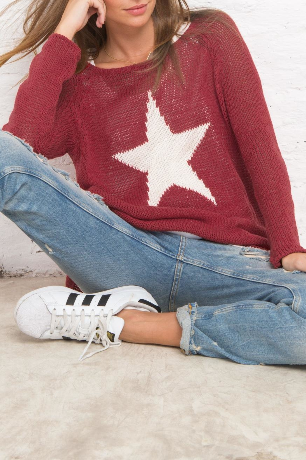 Wooden Ships Star Crewneck Sweater - Front Full Image