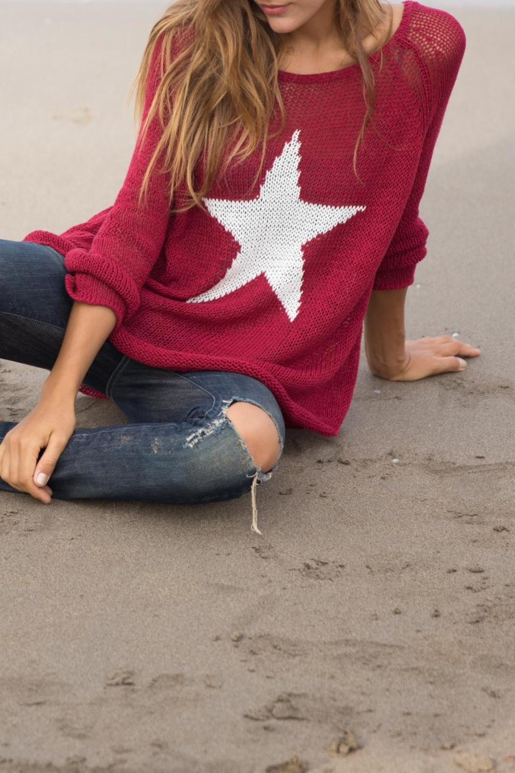 Wooden Ships Star Crewneck Sweater - Side Cropped Image