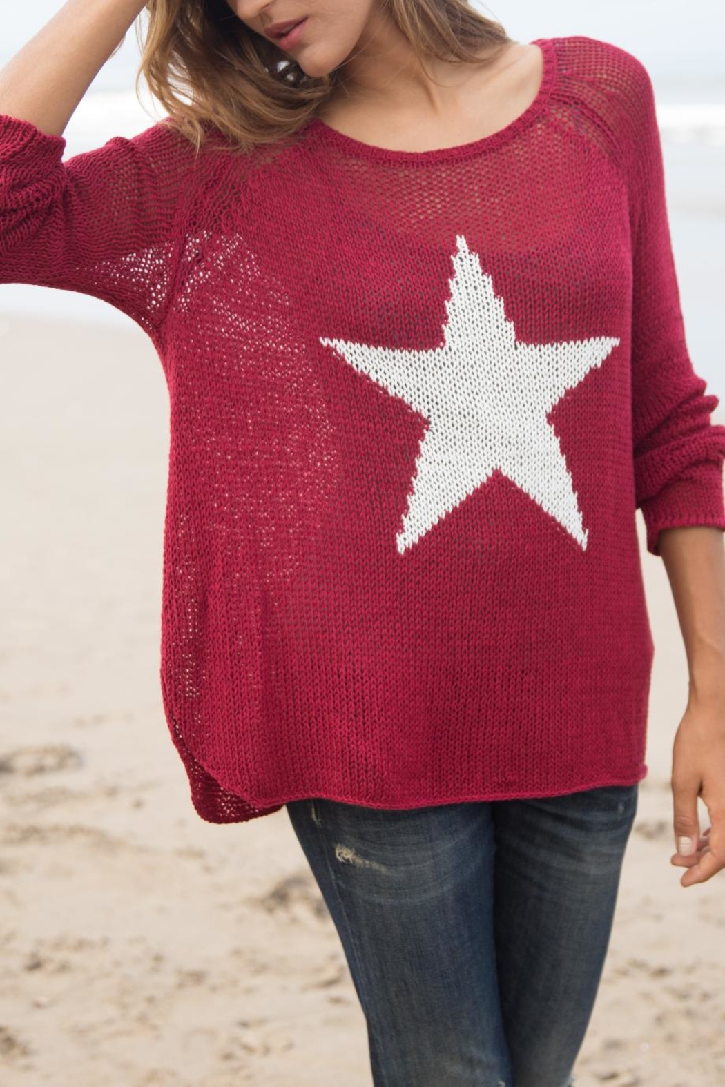 Wooden Ships Star Crewneck Sweater - Back Cropped Image