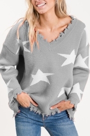 Macaron Star Distressed Sweater - Front cropped
