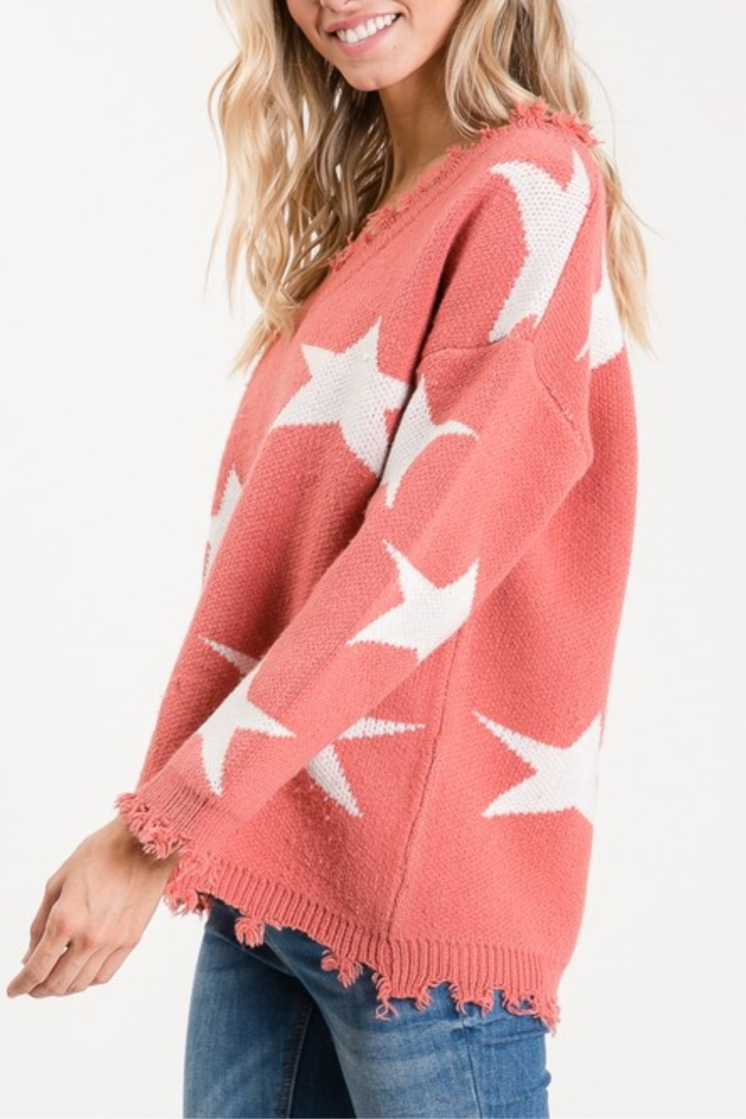 Macaron Star Distressed Sweater - Front Full Image