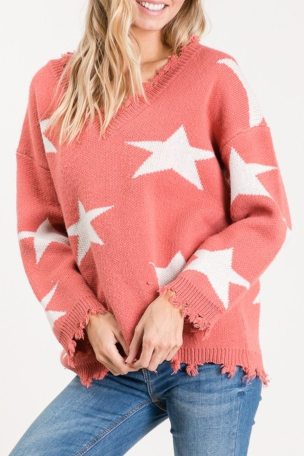 Macaron Star Distressed Sweater - Front Cropped Image