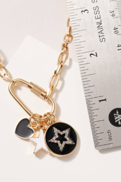 avenue zoe  Star Heart Charms Chain Linked Necklace - Alternate List Image