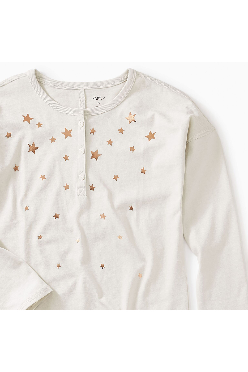 Tea Collection Star Henley Hi-Lo Top - Front Full Image