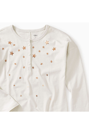 Tea Collection Star Henley Hi-Lo Top - Front full body