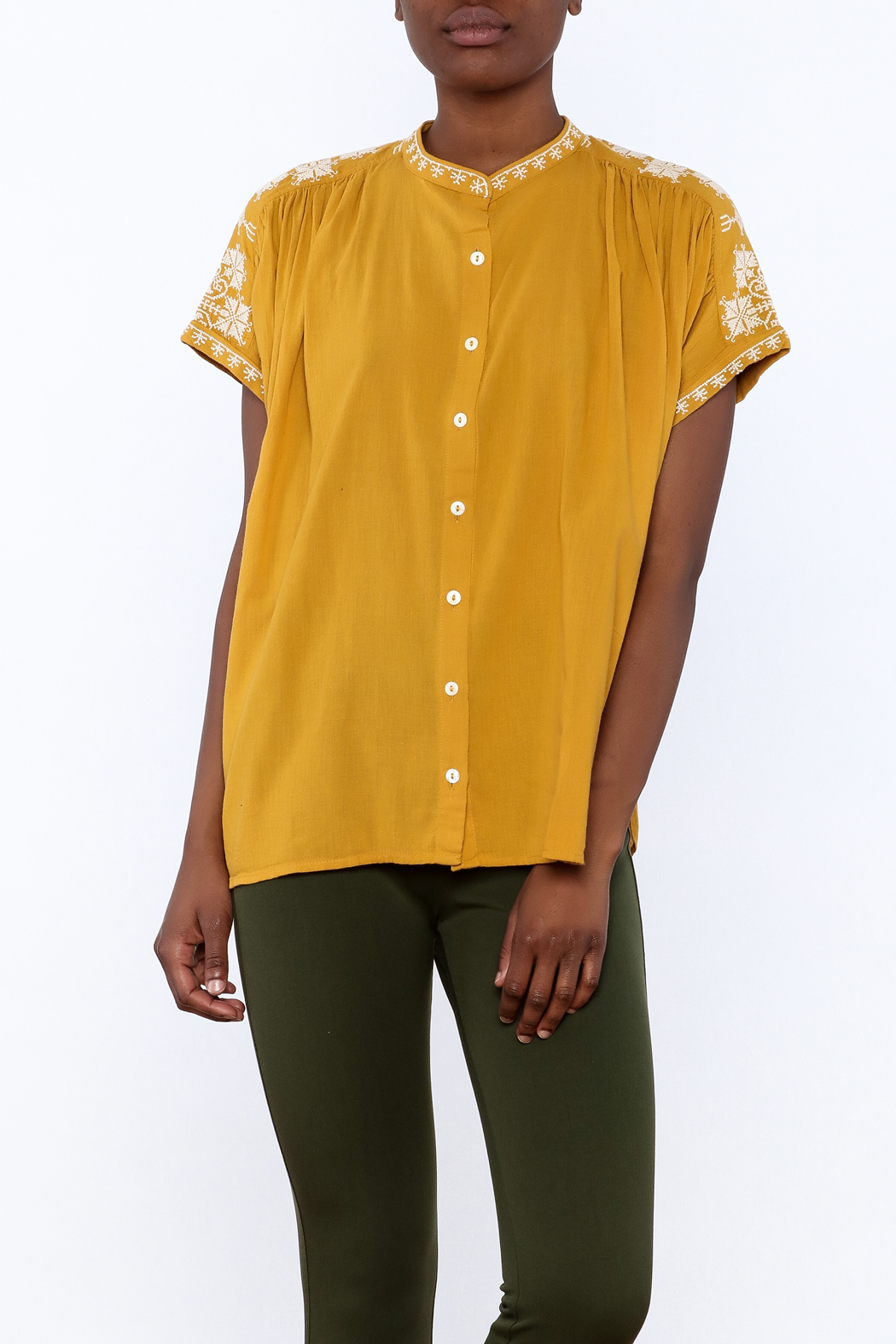 Star Mela Mustard Peasant Blouse - Front Cropped Image