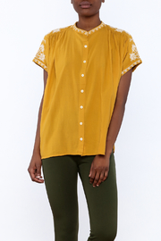 Star Mela Mustard Peasant Blouse - Product Mini Image