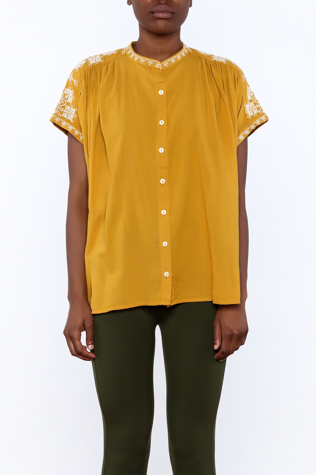 Star Mela Mustard Peasant Blouse - Side Cropped Image