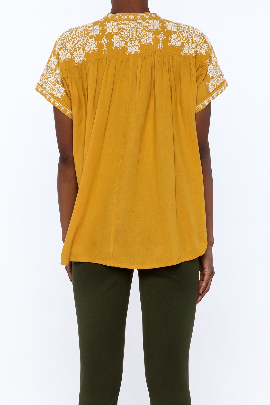 Star Mela Mustard Peasant Blouse - Back Cropped Image