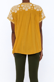 Star Mela Mustard Peasant Blouse - Back cropped