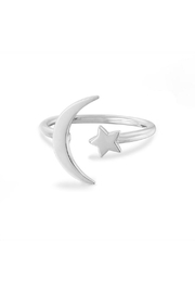 Something Silver Star + Moon Ring - Front cropped
