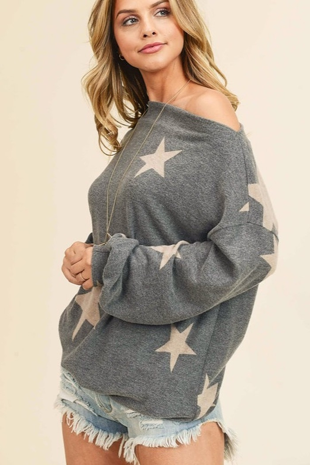 First Love Star Print Cashmere Brushed Top - Front Full Image
