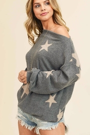 First Love Star Print Cashmere Brushed Top - Front full body