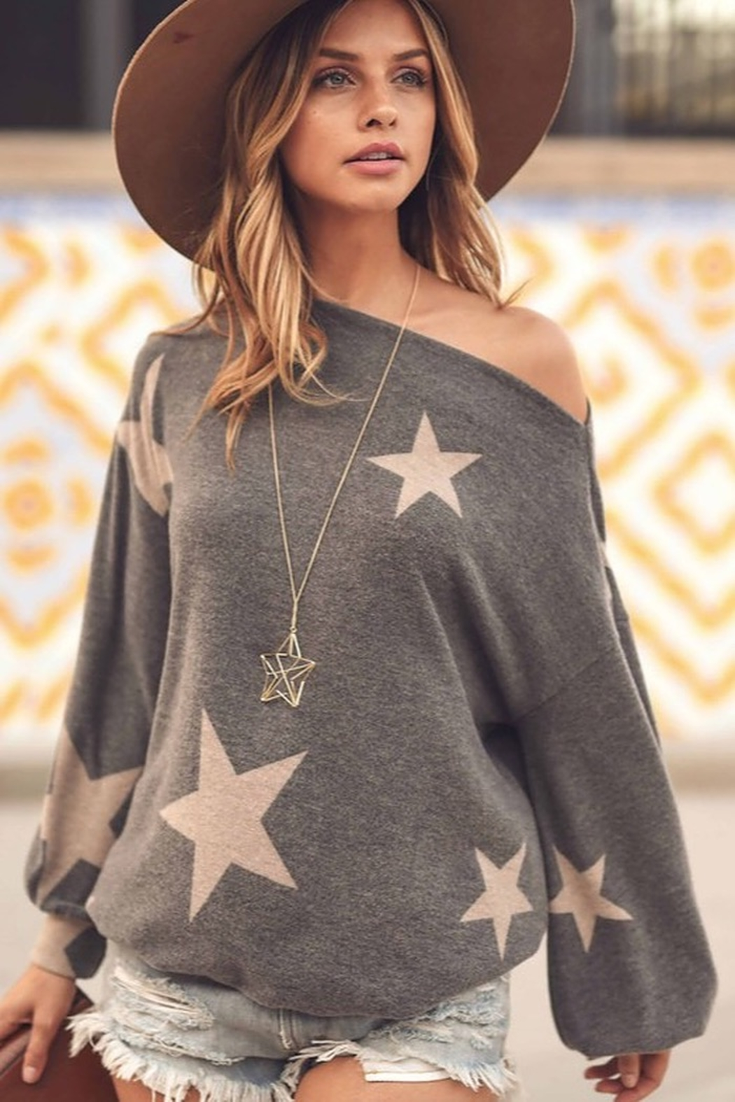 First Love Star Print Cashmere Brushed Top - Main Image