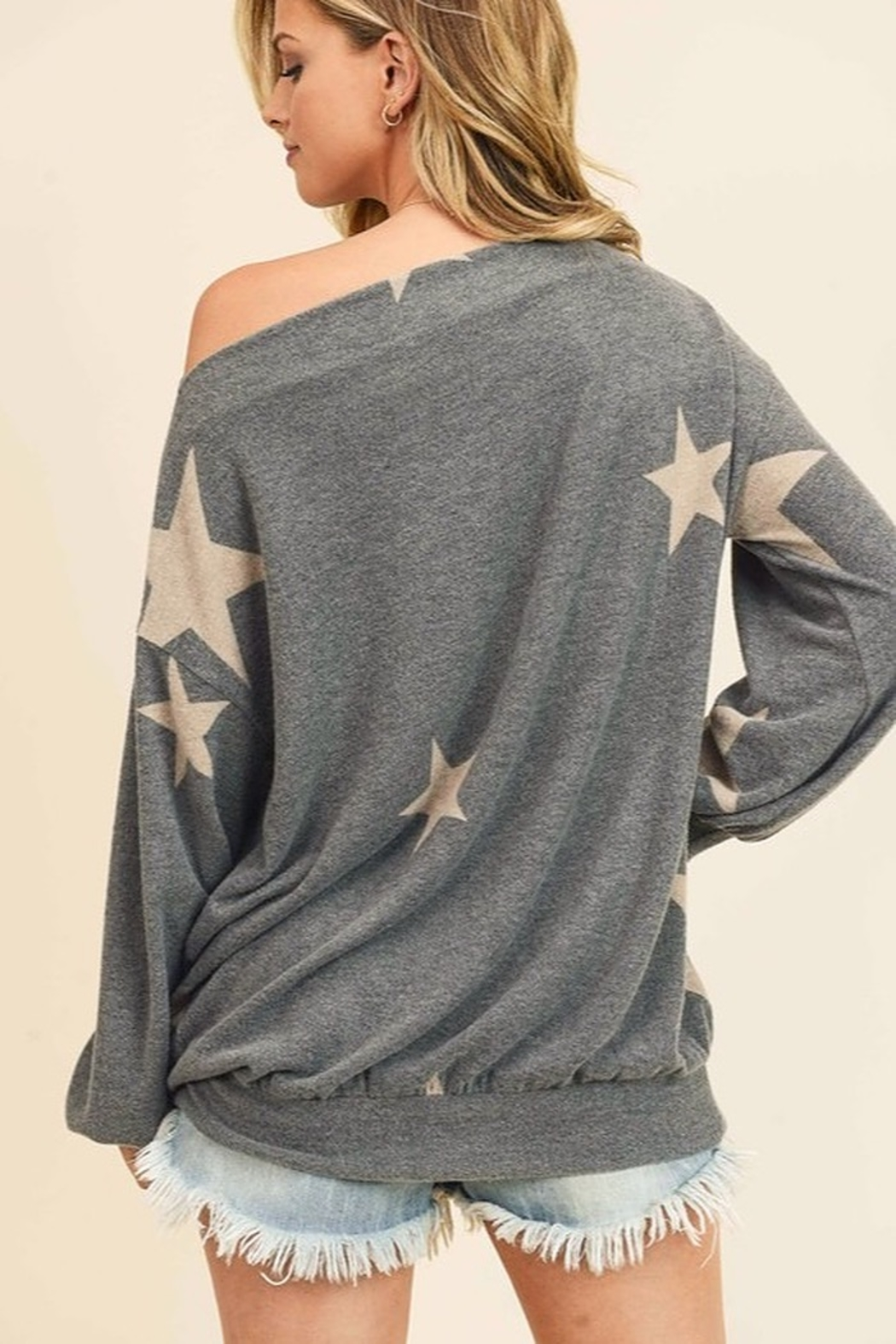 First Love Star Print Cashmere Brushed Top - Side Cropped Image