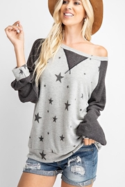 143 Story STAR PRINT COLOR BLOCK TOP - Front full body