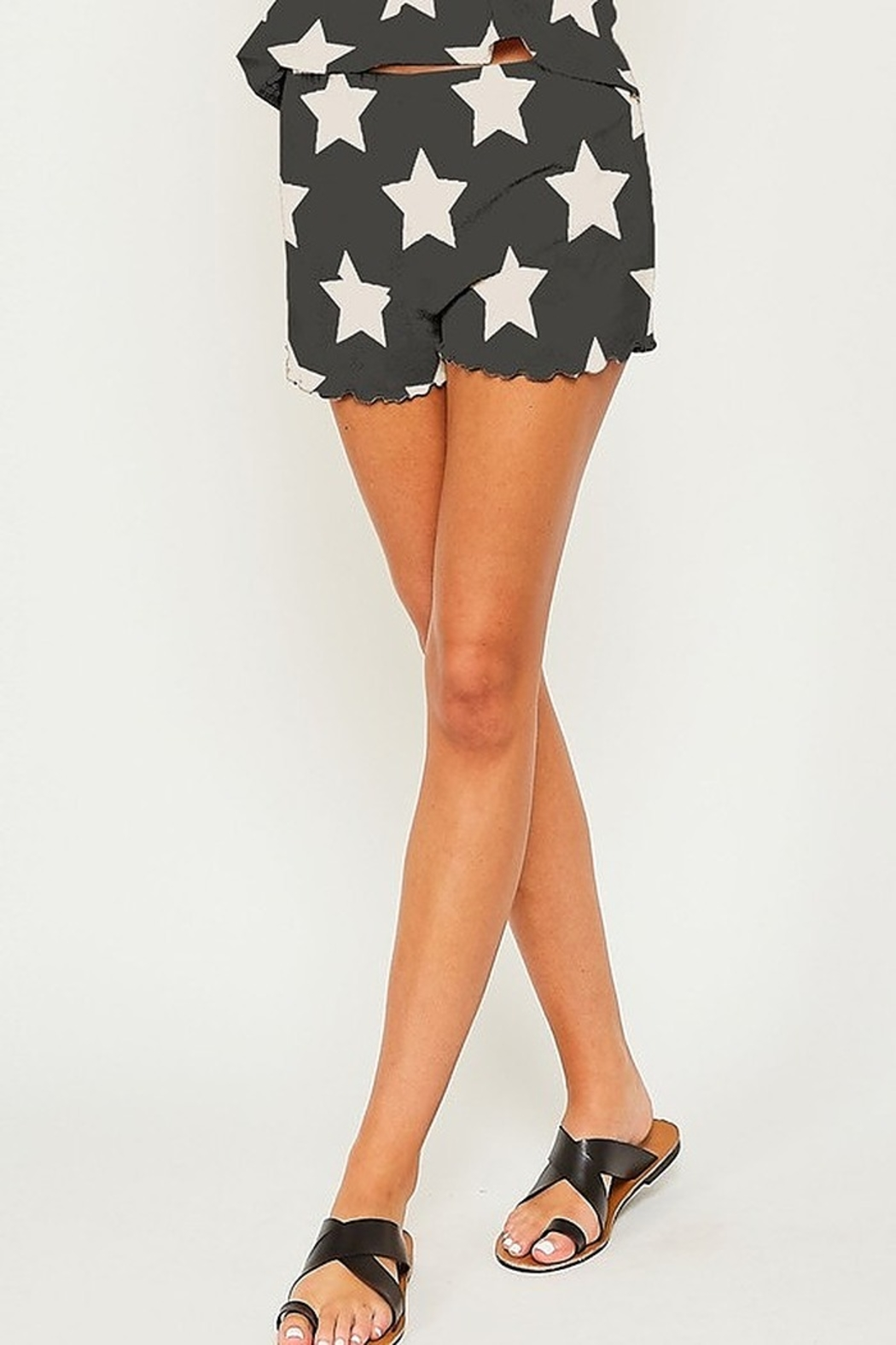 Peach Love Star Print PJ Shorts - Front Cropped Image