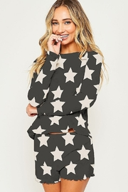 Peach Love Star Print PJ Top - Front cropped