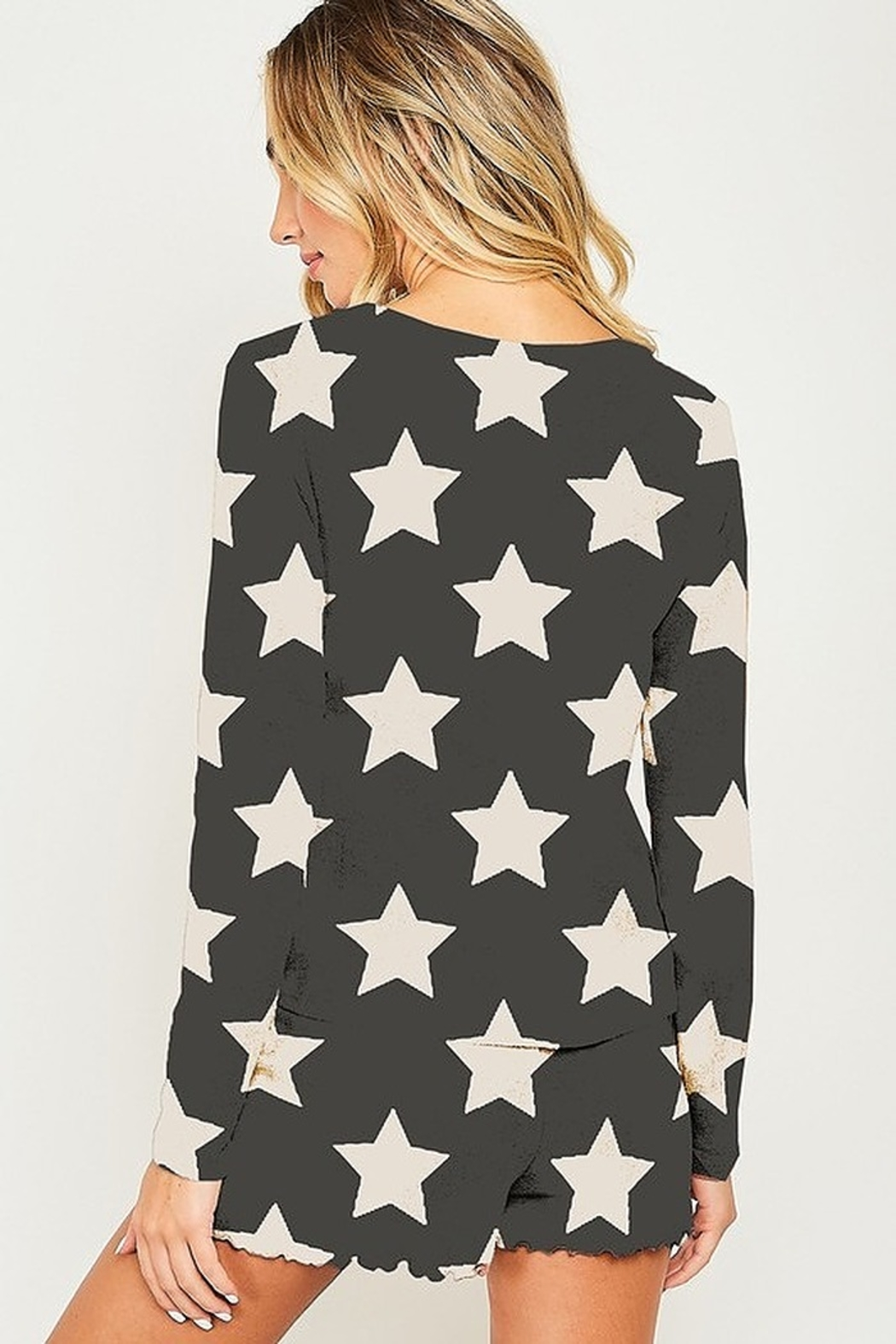 Peach Love Star Print PJ Top - Front Full Image