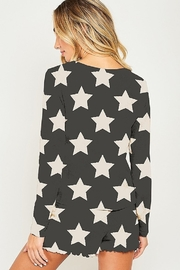Peach Love Star Print PJ Top - Front full body