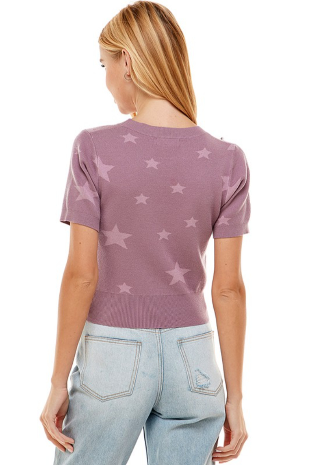 On Twelfth Star Print Sweater - Back Cropped Image