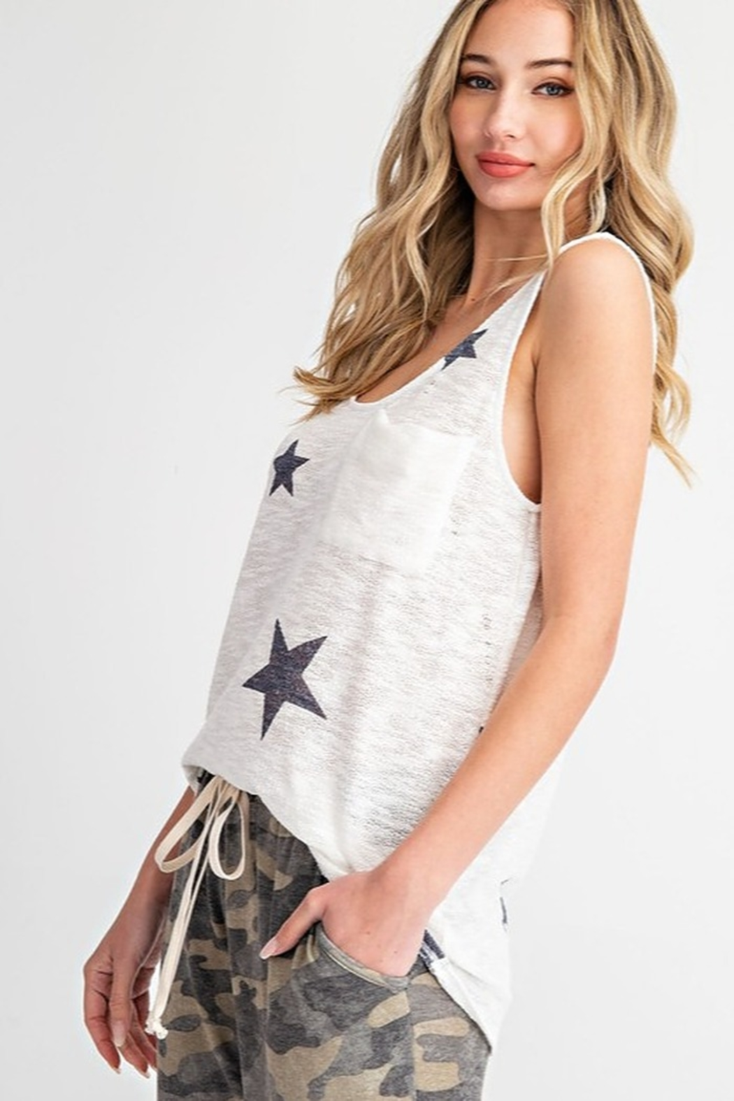 143 Story Star Print Sweater Knit Tank Top - Front Full Image