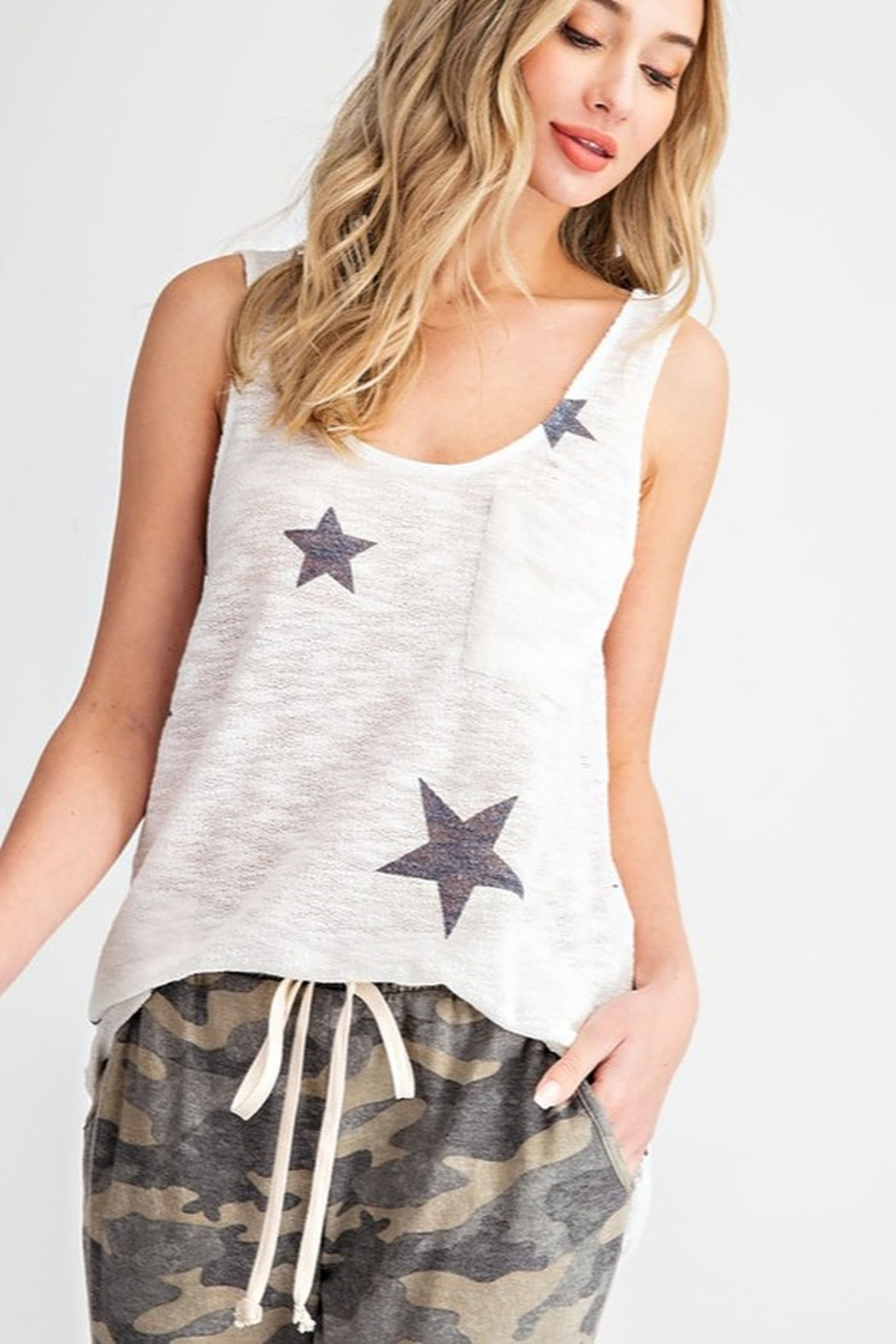 143 Story Star Print Sweater Knit Tank Top - Front Cropped Image